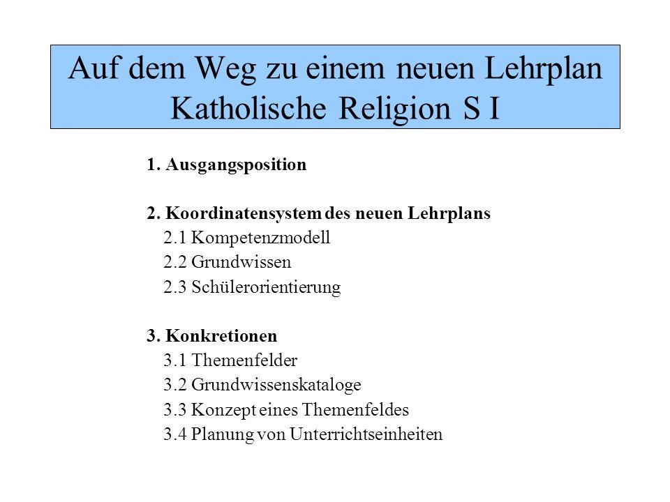 Auf dem Weg zu einem neuen Lehrplan Katholische Religion S I