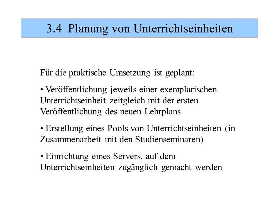 3.4 Planung von Unterrichtseinheiten