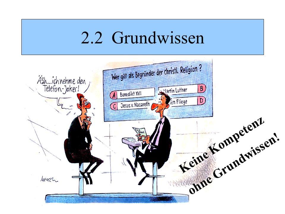 2.2 Grundwissen Keine Kompetenz ohne Grundwissen!