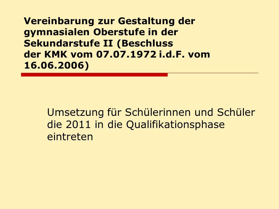 Vereinbarung zur Gestaltung der gymnasialen Oberstufe in der Sekundarstufe II (Beschluss der KMK vom 07.07.1972 i.d.F. vom 16.06.2006)
