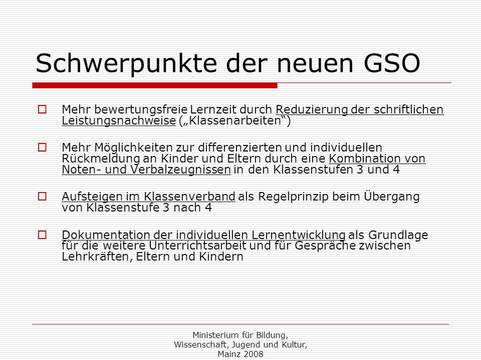 Schwerpunkte der neuen GSO