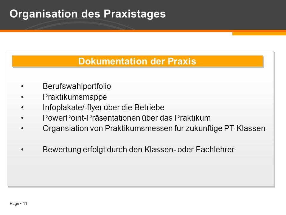 Organisation des Praxistages