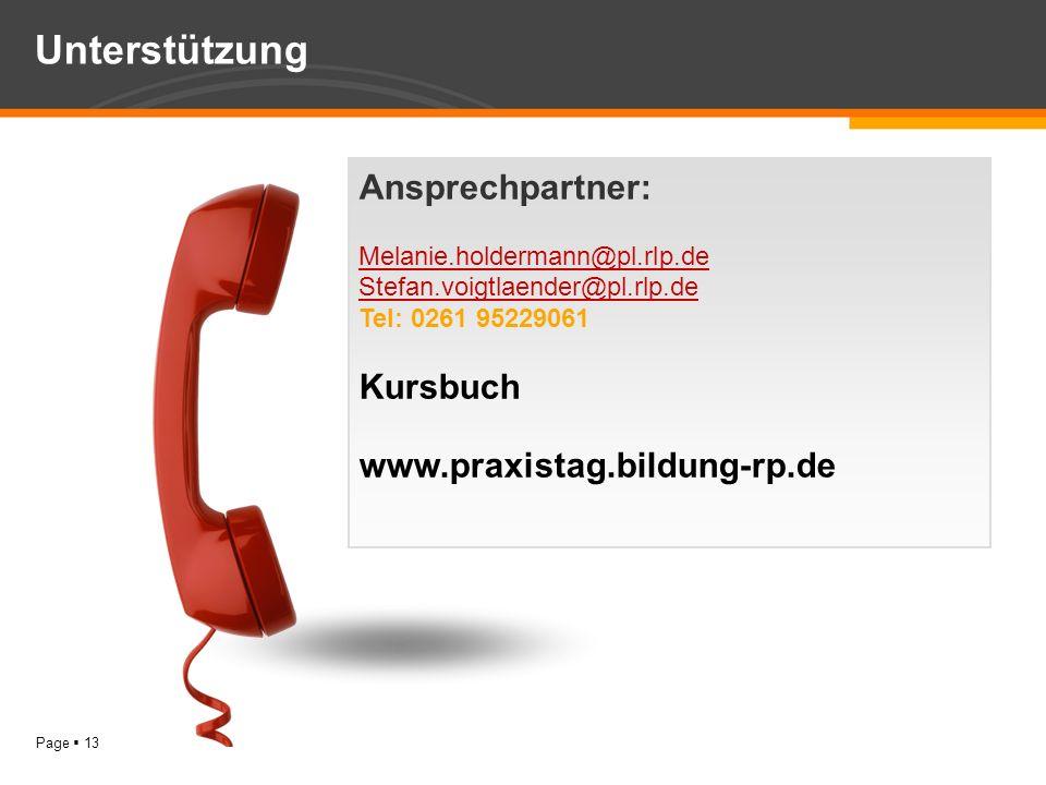 Unterstützung Ansprechpartner: Melanie.holdermann@pl.rlp.de Kursbuch