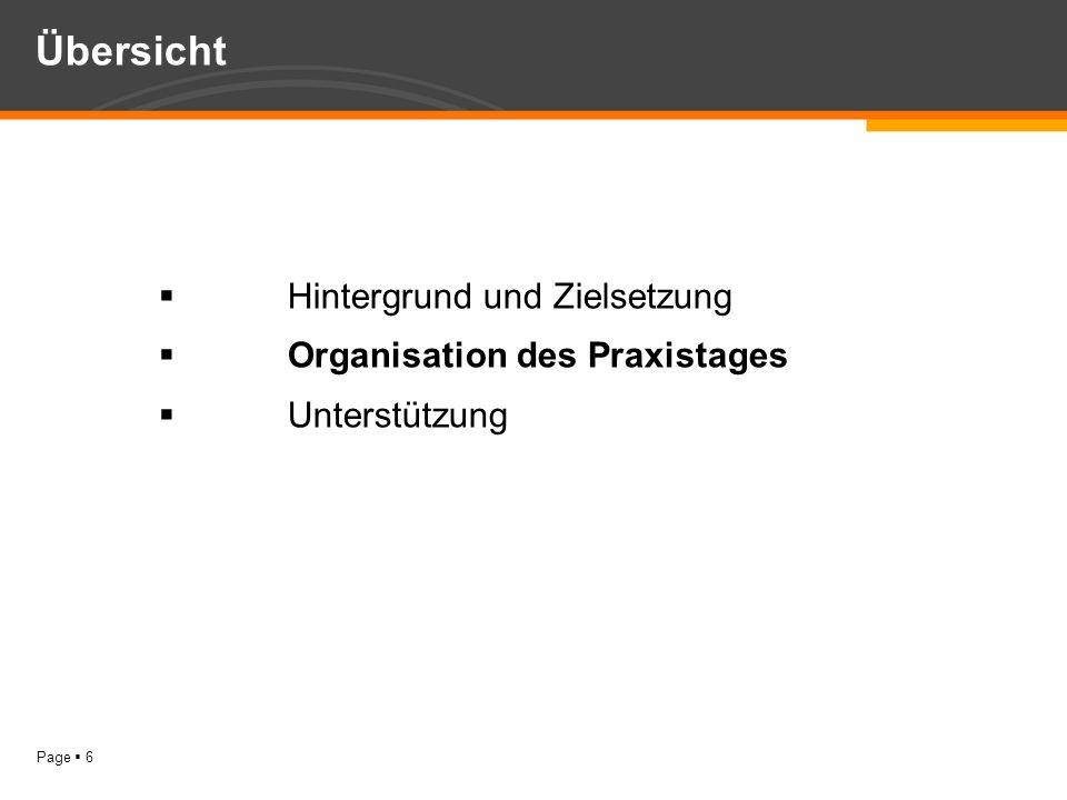 Übersicht Hintergrund und Zielsetzung Organisation des Praxistages
