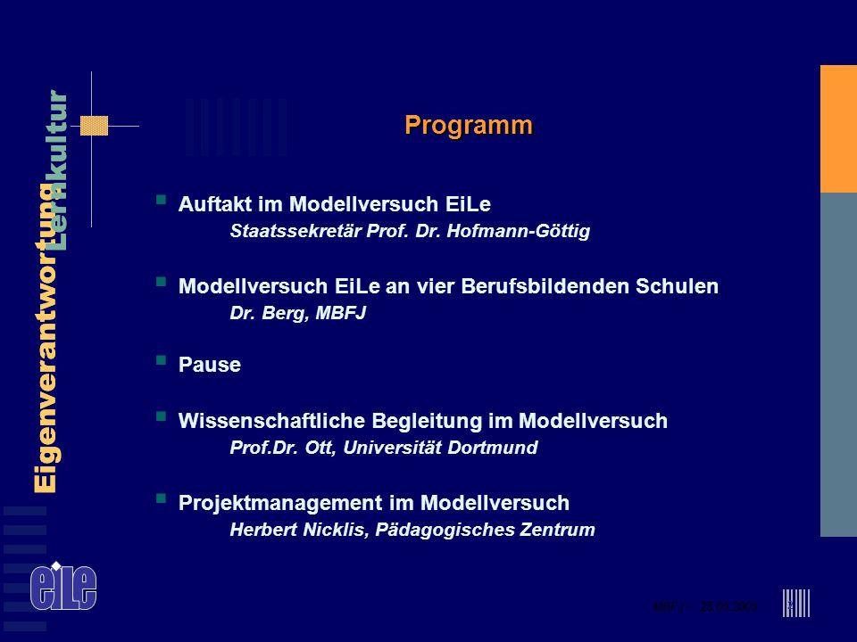 Programm Auftakt im Modellversuch EiLe