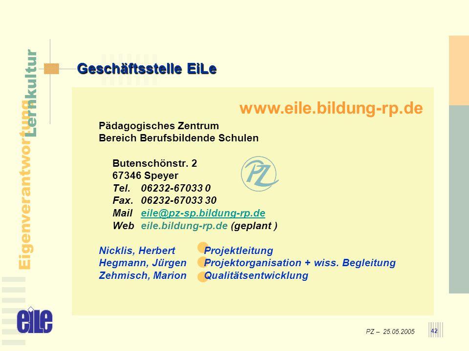 www.eile.bildung-rp.de Geschäftsstelle EiLe Pädagogisches Zentrum