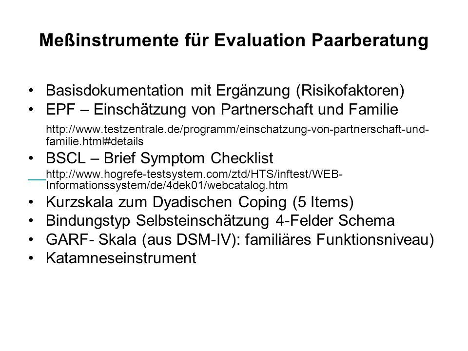 Meßinstrumente für Evaluation Paarberatung