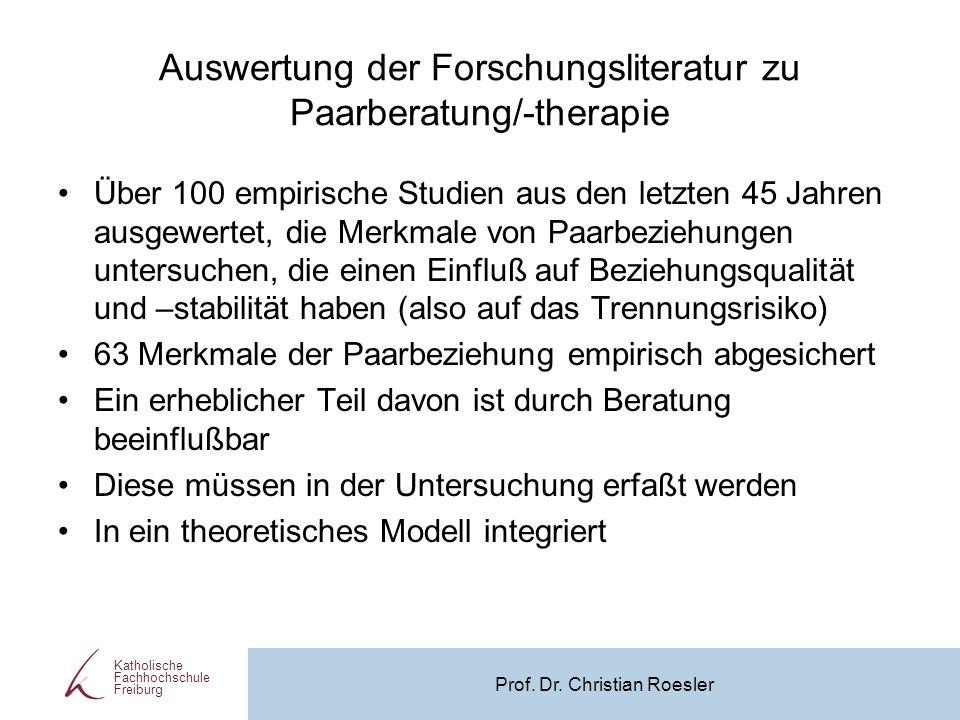 Auswertung der Forschungsliteratur zu Paarberatung/-therapie