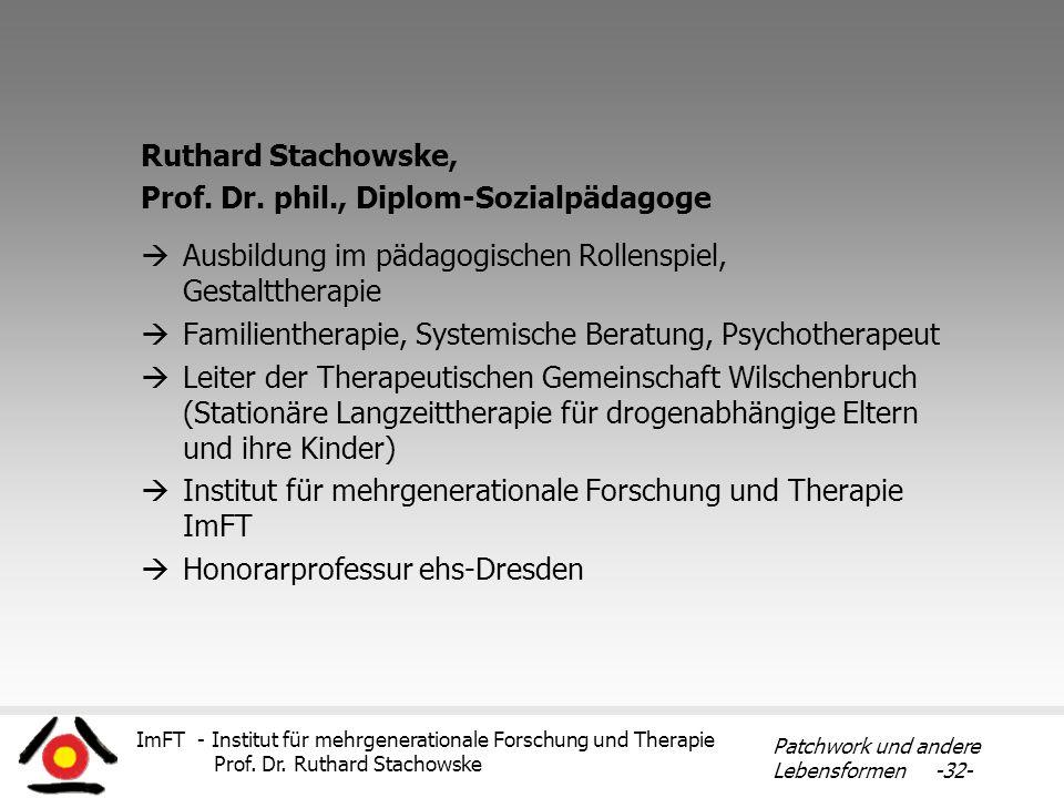 Ruthard Stachowske, Prof. Dr. phil., Diplom-Sozialpädagoge. Ausbildung im pädagogischen Rollenspiel, Gestalttherapie.