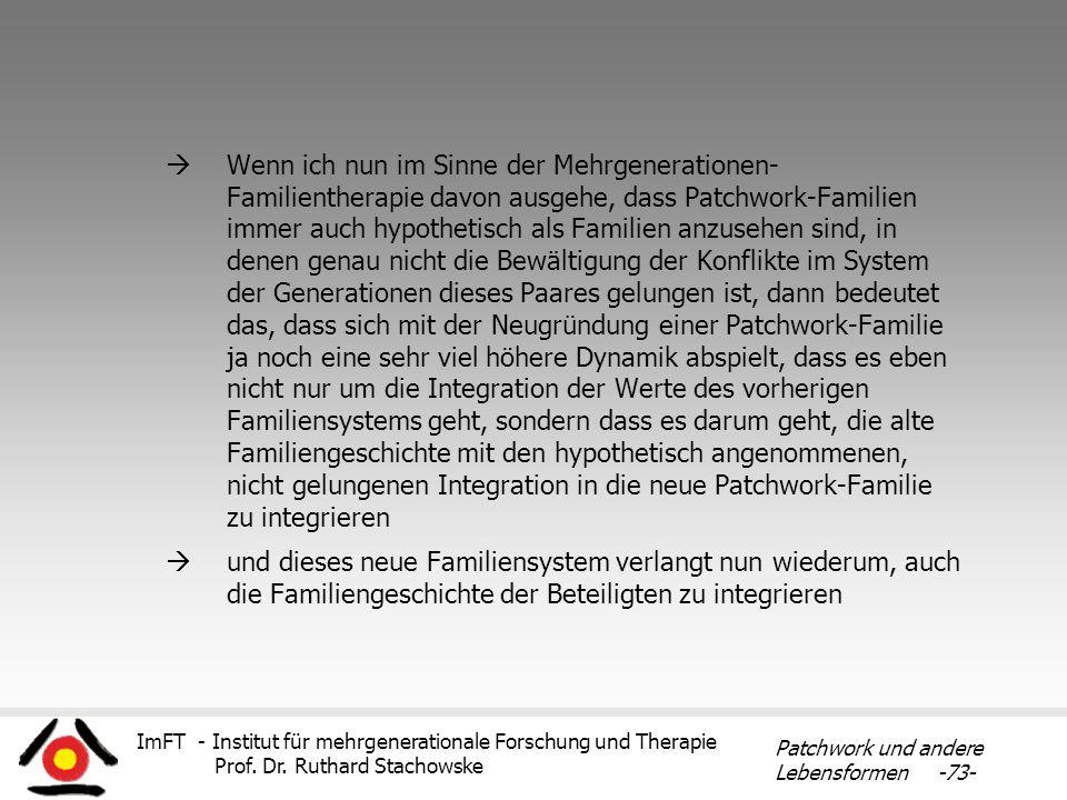 Wenn ich nun im Sinne der Mehrgenerationen- Familientherapie davon ausgehe, dass Patchwork-Familien immer auch hypothetisch als Familien anzusehen sind, in denen genau nicht die Bewältigung der Konflikte im System der Generationen dieses Paares gelungen ist, dann bedeutet das, dass sich mit der Neugründung einer Patchwork-Familie ja noch eine sehr viel höhere Dynamik abspielt, dass es eben nicht nur um die Integration der Werte des vorherigen Familiensystems geht, sondern dass es darum geht, die alte Familiengeschichte mit den hypothetisch angenommenen, nicht gelungenen Integration in die neue Patchwork-Familie zu integrieren