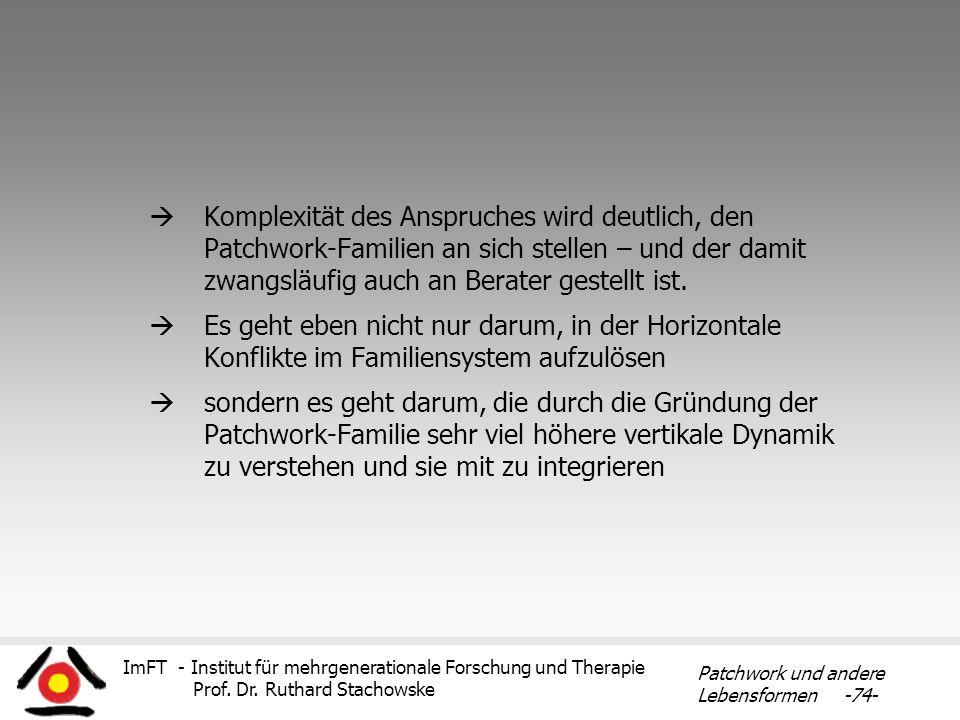 Komplexität des Anspruches wird deutlich, den Patchwork-Familien an sich stellen – und der damit zwangsläufig auch an Berater gestellt ist.