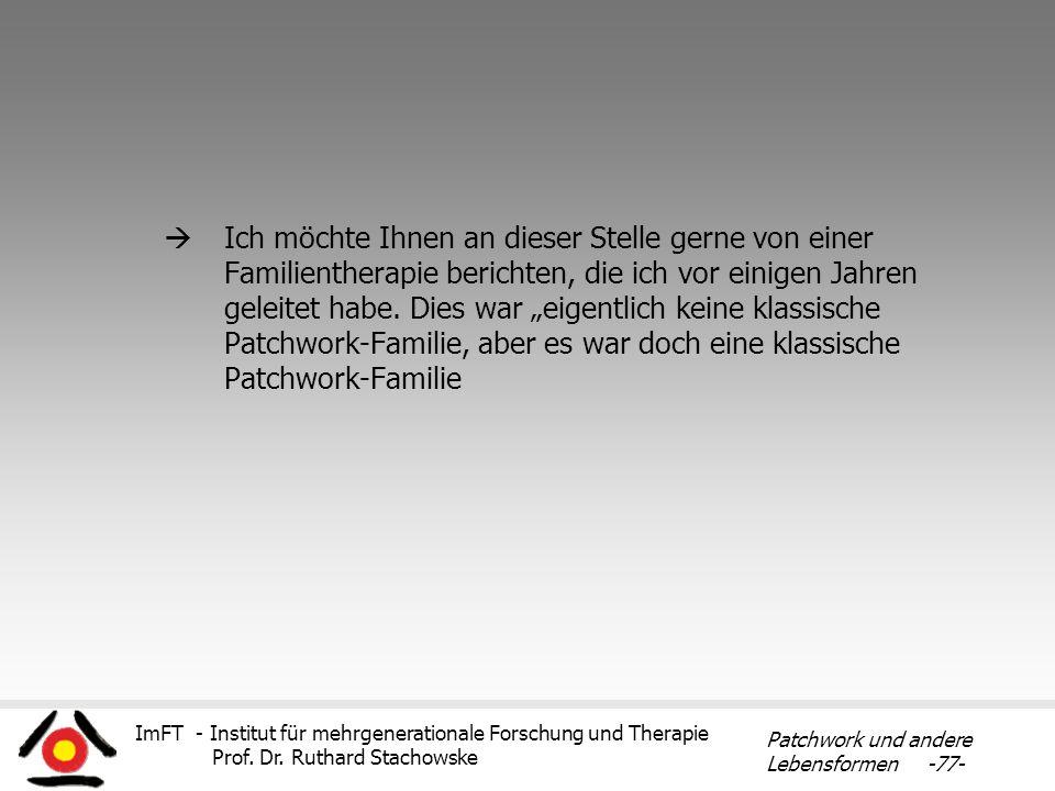 Ich möchte Ihnen an dieser Stelle gerne von einer Familientherapie berichten, die ich vor einigen Jahren geleitet habe.