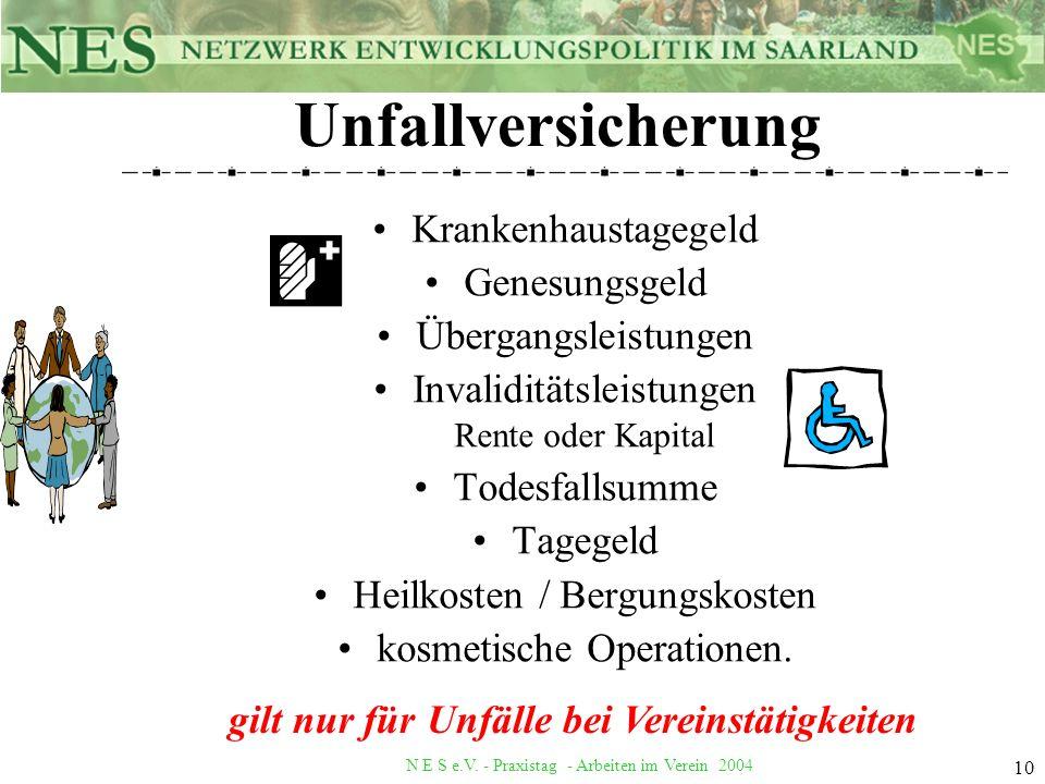 Unfallversicherung Krankenhaustagegeld Genesungsgeld