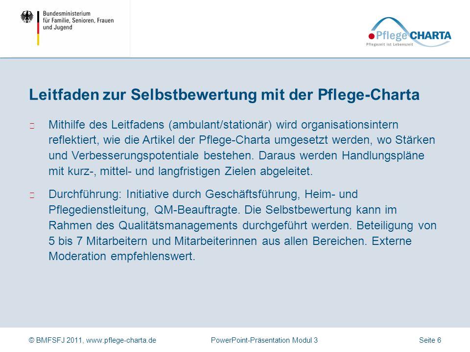 Leitfaden zur Selbstbewertung mit der Pflege-Charta