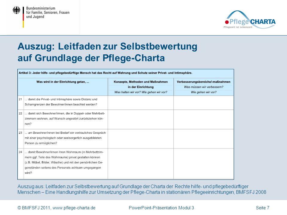 Auszug: Leitfaden zur Selbstbewertung auf Grundlage der Pflege-Charta