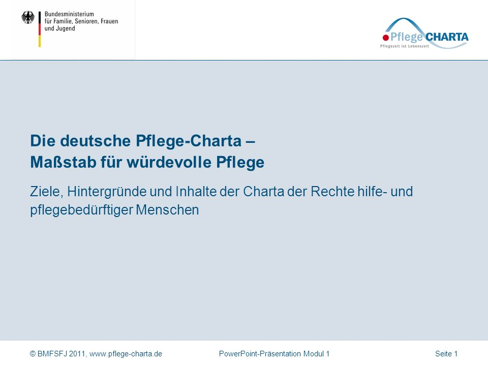 Die deutsche Pflege-Charta – Maßstab für würdevolle Pflege