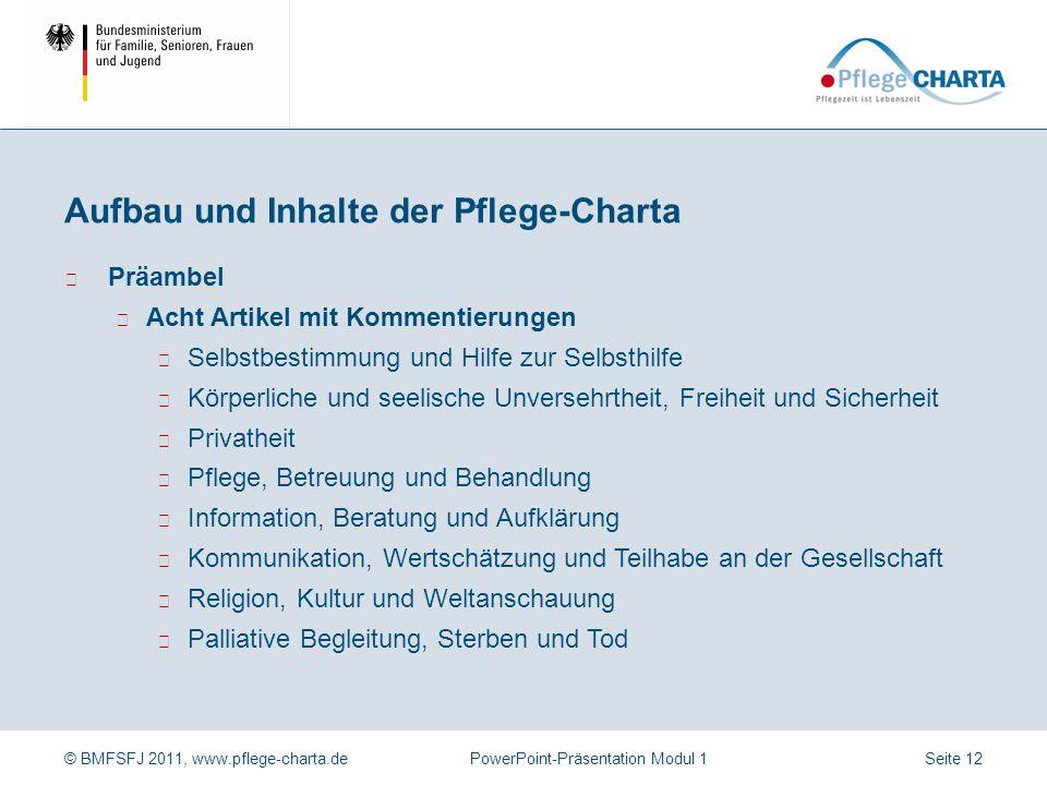 Aufbau und Inhalte der Pflege-Charta