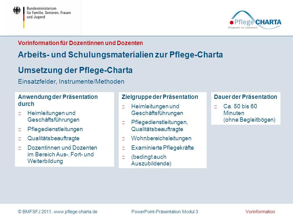 Arbeits- und Schulungsmaterialien zur Pflege-Charta