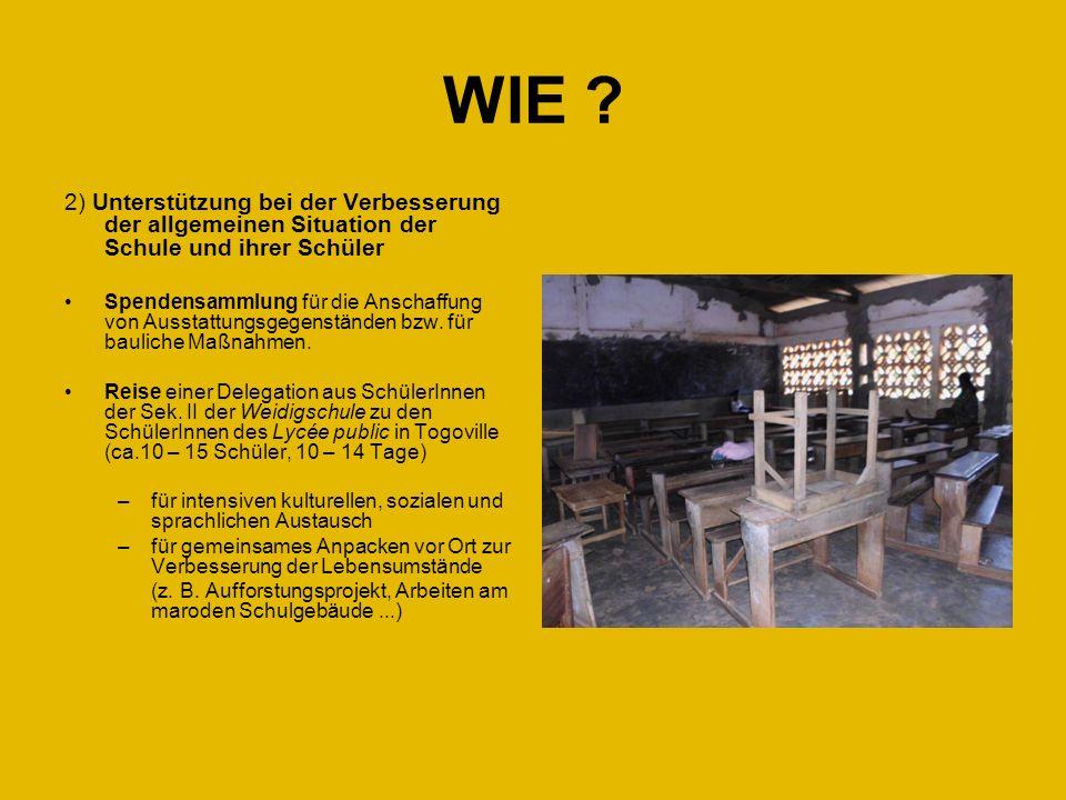 WIE 2) Unterstützung bei der Verbesserung der allgemeinen Situation der Schule und ihrer Schüler.