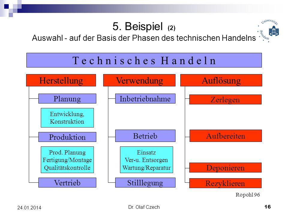 5. Beispiel (2) Auswahl - auf der Basis der Phasen des technischen Handelns