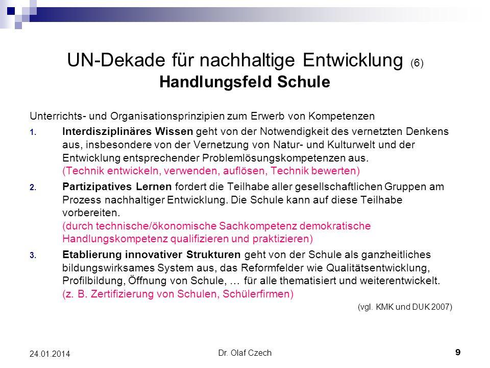 UN-Dekade für nachhaltige Entwicklung (6) Handlungsfeld Schule