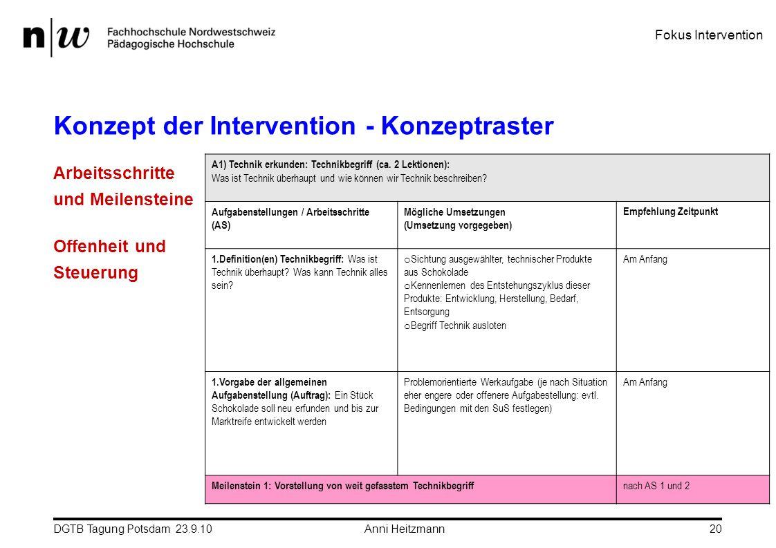 Konzept der Intervention - Konzeptraster
