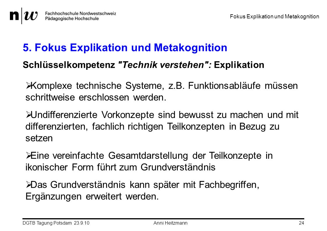 5. Fokus Explikation und Metakognition