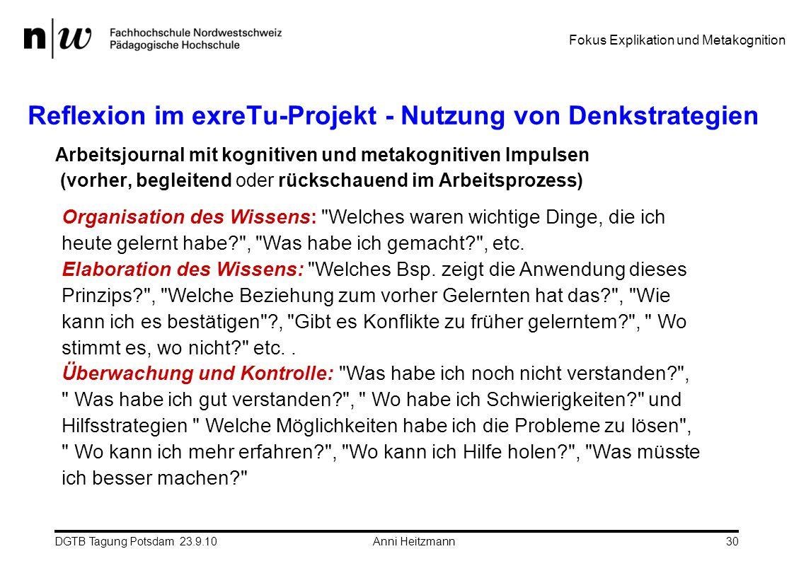 Reflexion im exreTu-Projekt - Nutzung von Denkstrategien