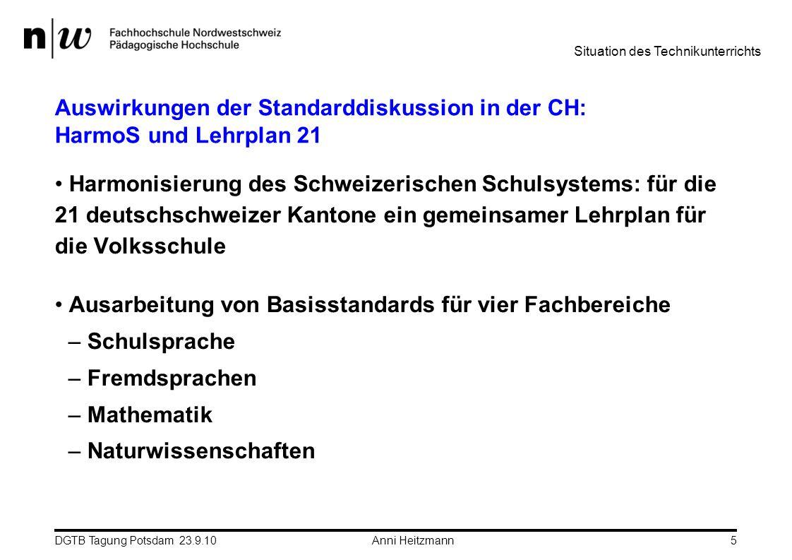 Auswirkungen der Standarddiskussion in der CH: HarmoS und Lehrplan 21