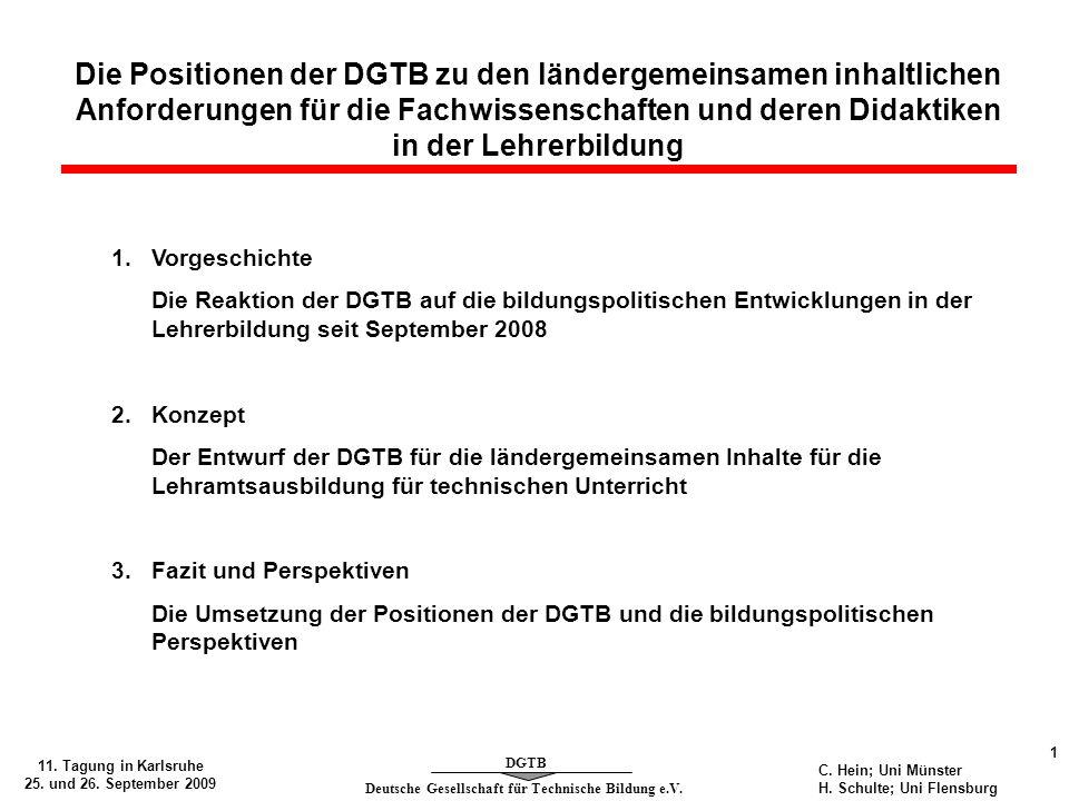 Die Positionen der DGTB zu den ländergemeinsamen inhaltlichen Anforderungen für die Fachwissenschaften und deren Didaktiken in der Lehrerbildung