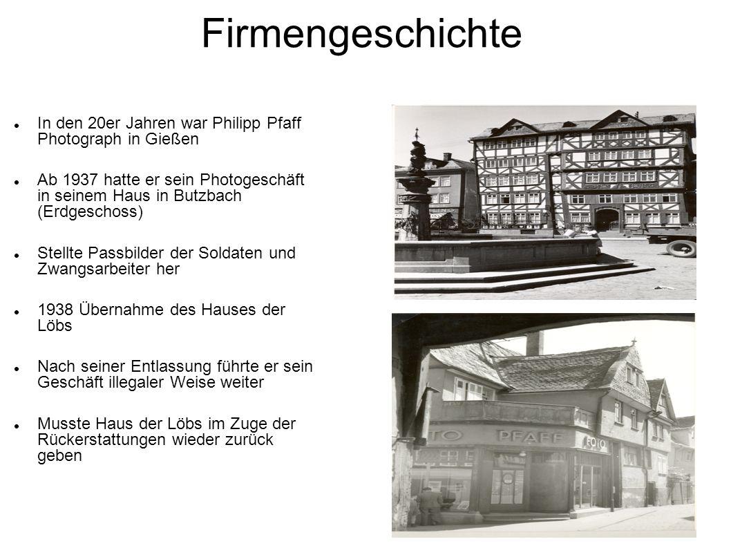 Firmengeschichte In den 20er Jahren war Philipp Pfaff Photograph in Gießen.