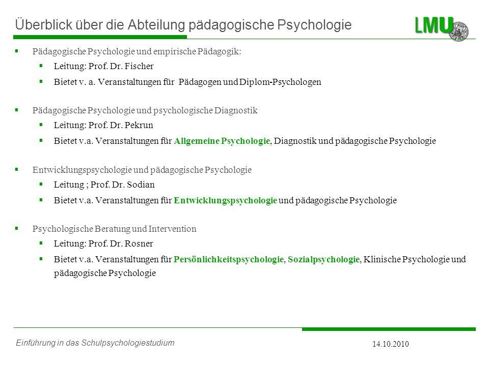 Überblick über die Abteilung pädagogische Psychologie