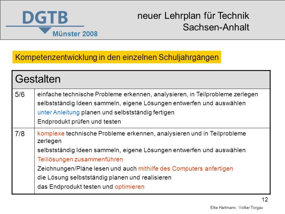 Gestalten neuer Lehrplan für Technik Sachsen-Anhalt