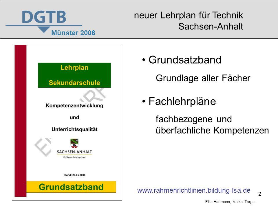 Grundsatzband Fachlehrpläne neuer Lehrplan für Technik Sachsen-Anhalt