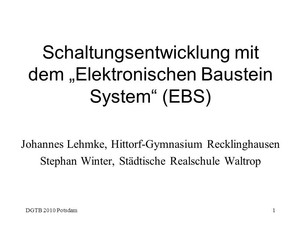 """Schaltungsentwicklung mit dem """"Elektronischen Baustein System (EBS)"""