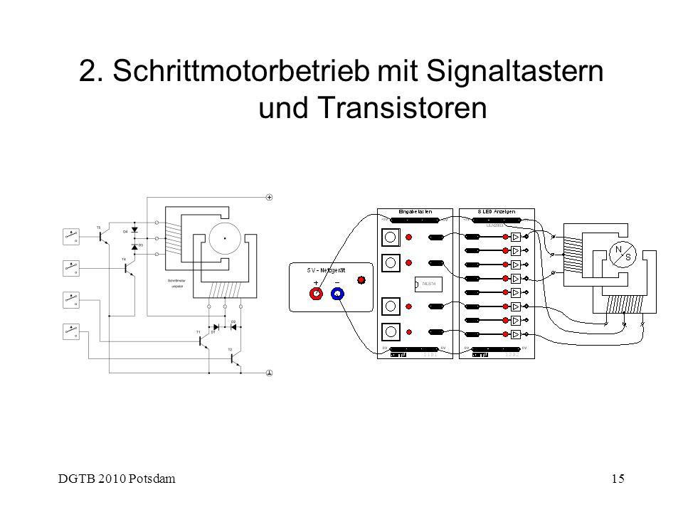 2. Schrittmotorbetrieb mit Signaltastern und Transistoren