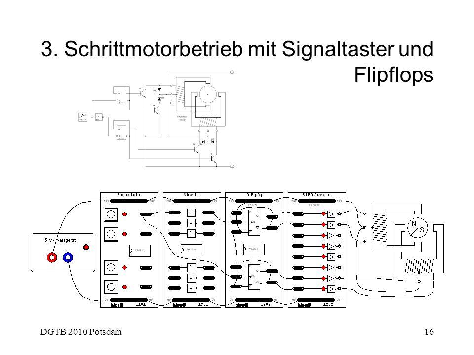 3. Schrittmotorbetrieb mit Signaltaster und Flipflops