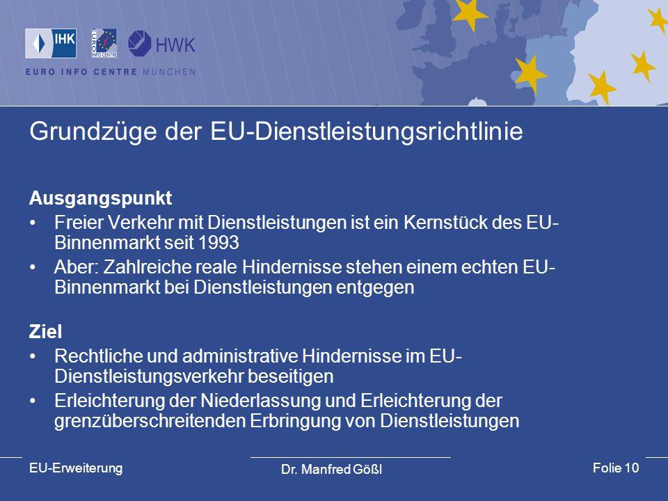 Grundzüge der EU-Dienstleistungsrichtlinie