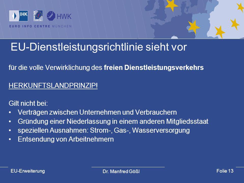 EU-Dienstleistungsrichtlinie sieht vor