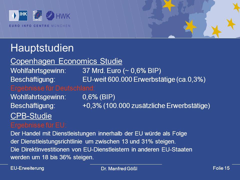 Hauptstudien Copenhagen Economics Studie CPB-Studie