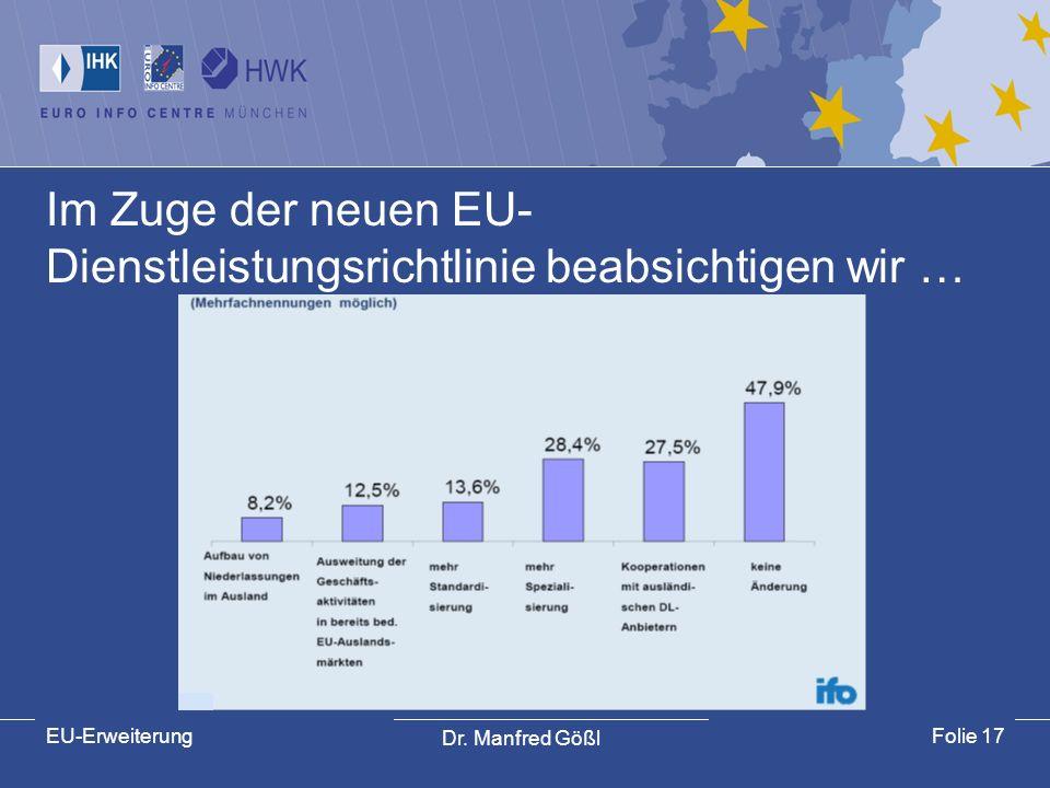 Im Zuge der neuen EU-Dienstleistungsrichtlinie beabsichtigen wir …