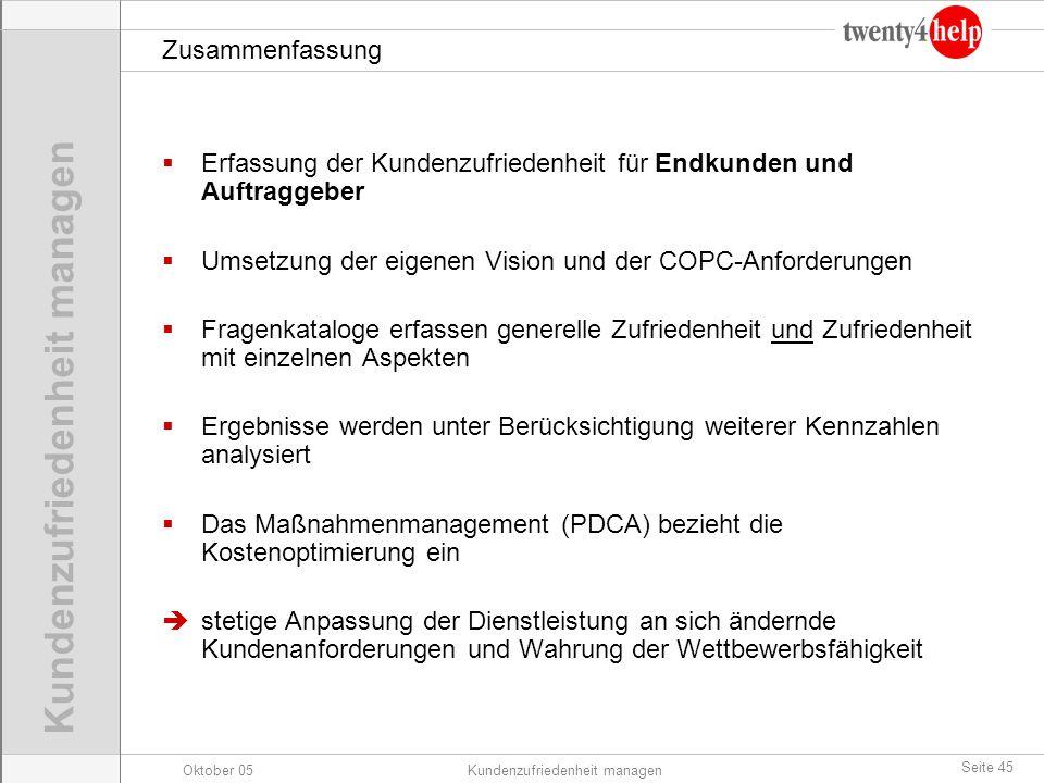 Zusammenfassung Erfassung der Kundenzufriedenheit für Endkunden und Auftraggeber. Umsetzung der eigenen Vision und der COPC-Anforderungen.