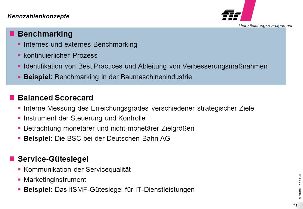 Benchmarking Balanced Scorecard Service-Gütesiegel
