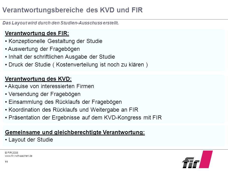 Verantwortungsbereiche des KVD und FIR
