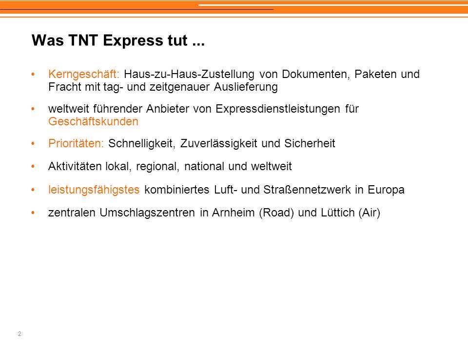 Was TNT Express tut ... Kerngeschäft: Haus-zu-Haus-Zustellung von Dokumenten, Paketen und Fracht mit tag- und zeitgenauer Auslieferung.