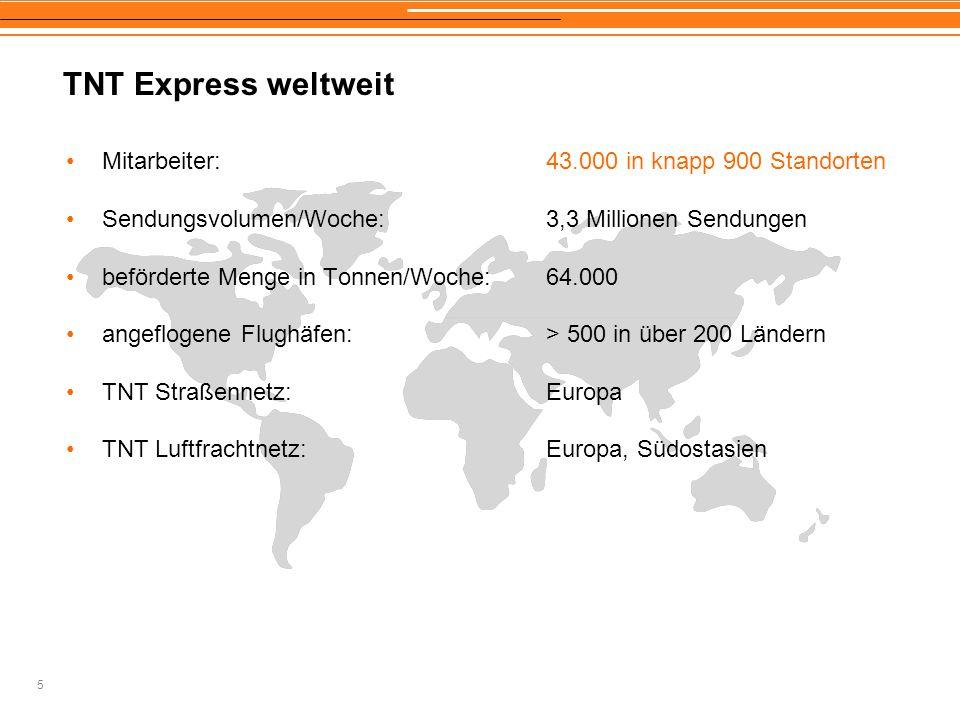 TNT Express weltweit Mitarbeiter: 43.000 in knapp 900 Standorten