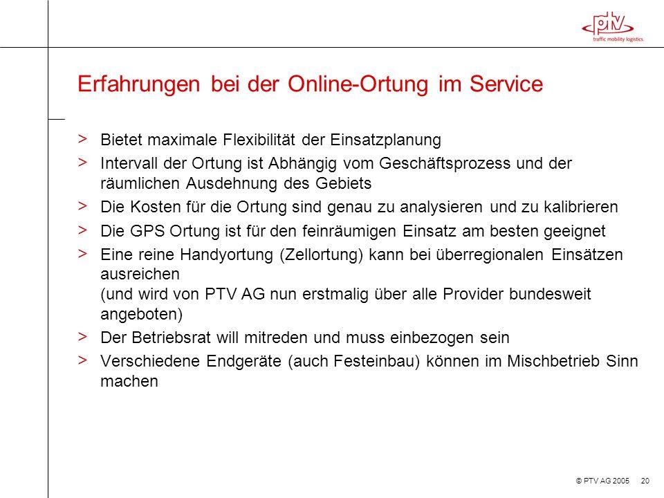 Erfahrungen bei der Online-Ortung im Service