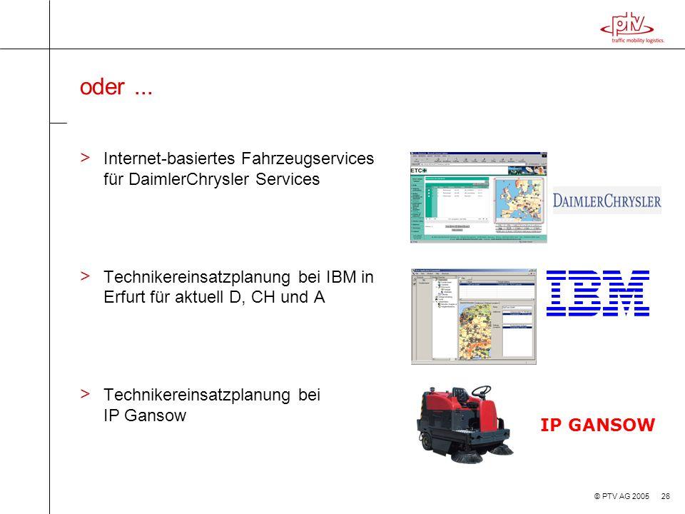 oder ... Internet-basiertes Fahrzeugservices für DaimlerChrysler Services. Technikereinsatzplanung bei IBM in Erfurt für aktuell D, CH und A.