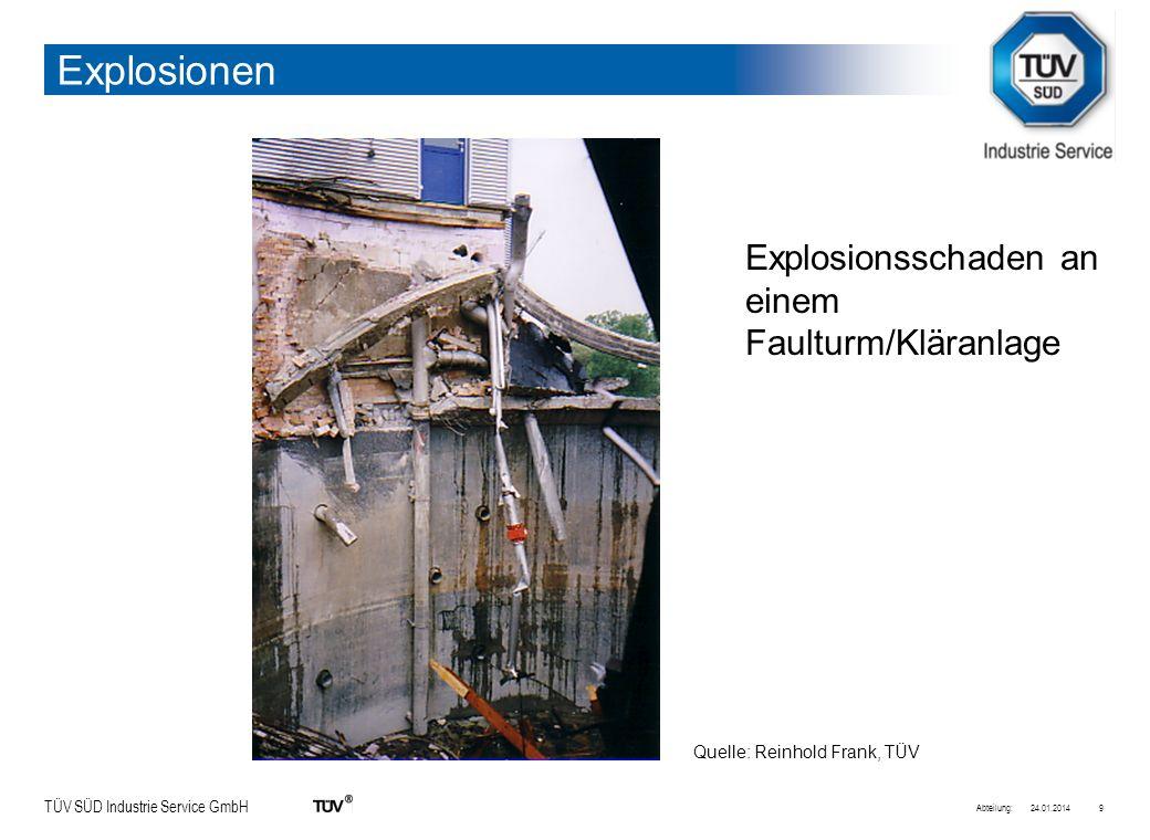 Explosionen Explosionsschaden an einem Faulturm/Kläranlage