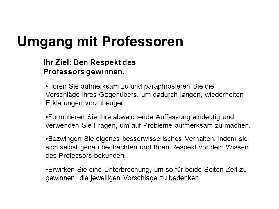 Umgang mit Professoren